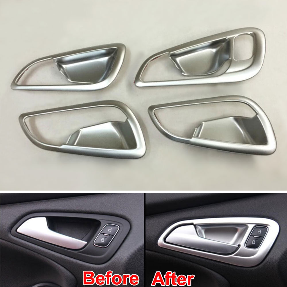 ABS Chrome Inner Door Handle Bowl Cover Sticker For Ford Focus 2015 2016 Car Interior Decoration Accessories 4PCS/Set