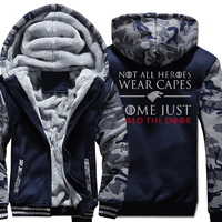 2018 Hot Sale Game of Thrones Camouflage Thick Hoodies Men New Fashion Sweatshirts Print SOME JUST HOLD THE DOOR Loose hoodied