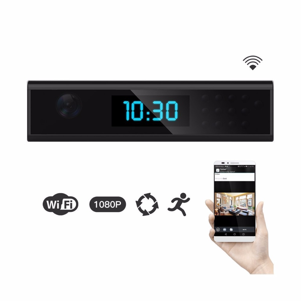 WIFI Mini Camera Clock Camera Wifi 168 Degree Wireless Night Vision IP Clock Camcorder Support 128g TF Card Recording Device Cam