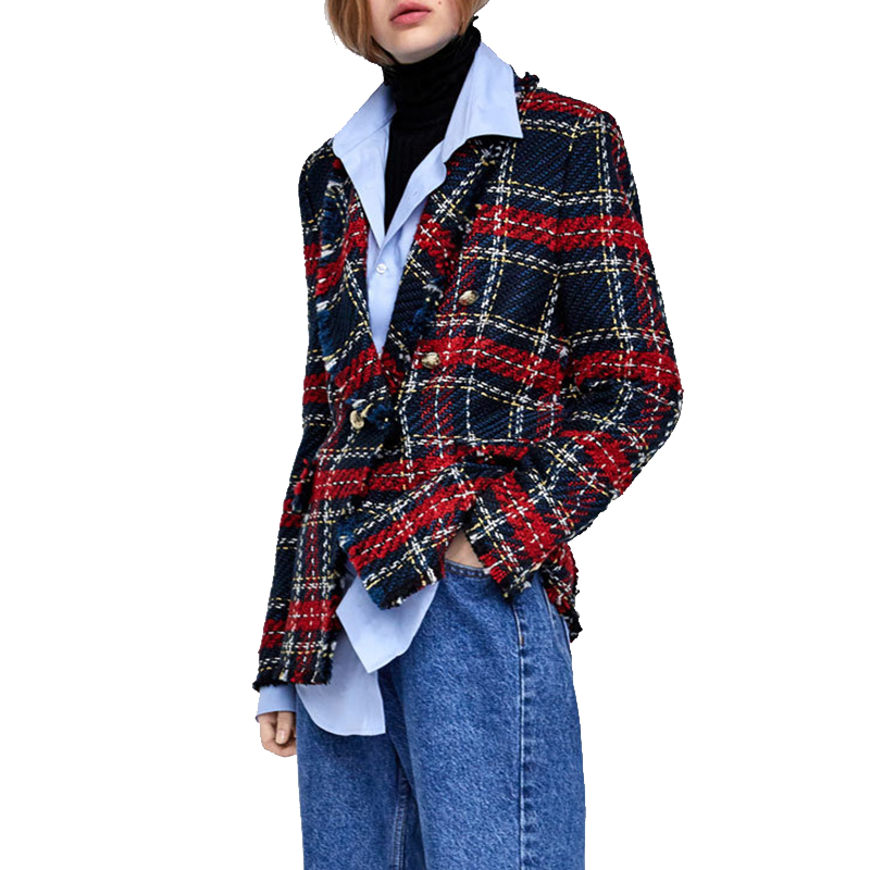 Blazer Mujer 2019 Fashion Tweed Knitted Plaid Jackets Coats Ladies Elegant Single Breasted Blazer Outerwear Jacket Women Blazers