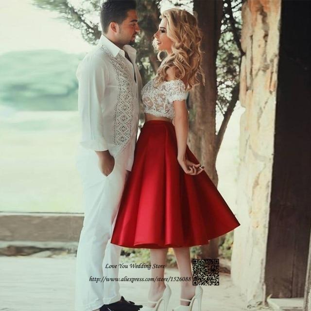Vestidos blanco y rojo cortos