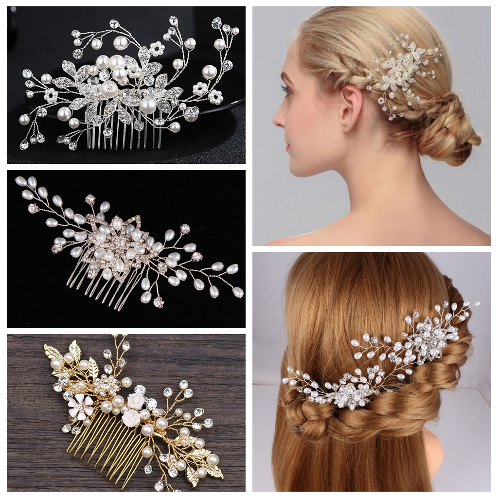 Golden Leaf bride interposing comb hand made pear fashion classic hair combs