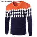 Men's Sweater 2017 New Arrival Winter Casual Slim Pullover V-Collar Argyle Pattern Pull Homme M-XXXL Plus Size 3 Colors MZM322