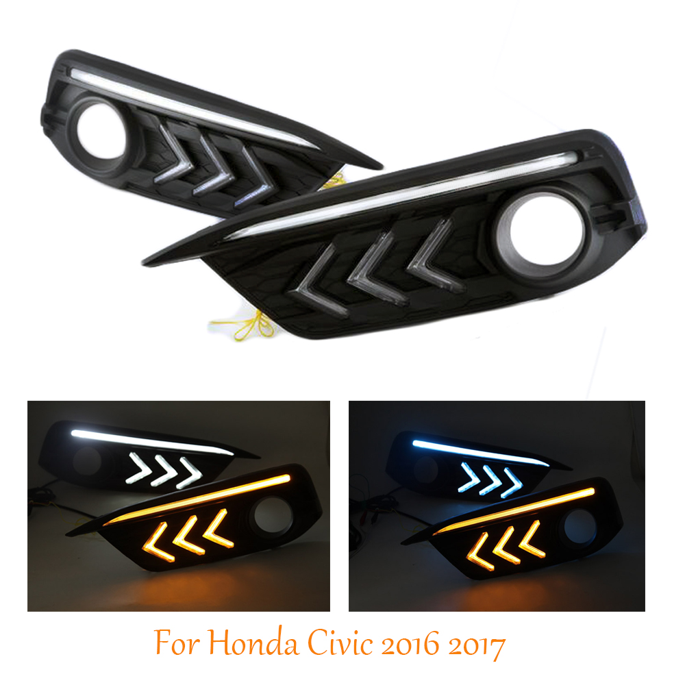 2PCS DRL For Honda Civic 10th 2016 2017 Mustang Style LED Daytime Running Lights Truning Lights Fog Driving Lamp Waterproof