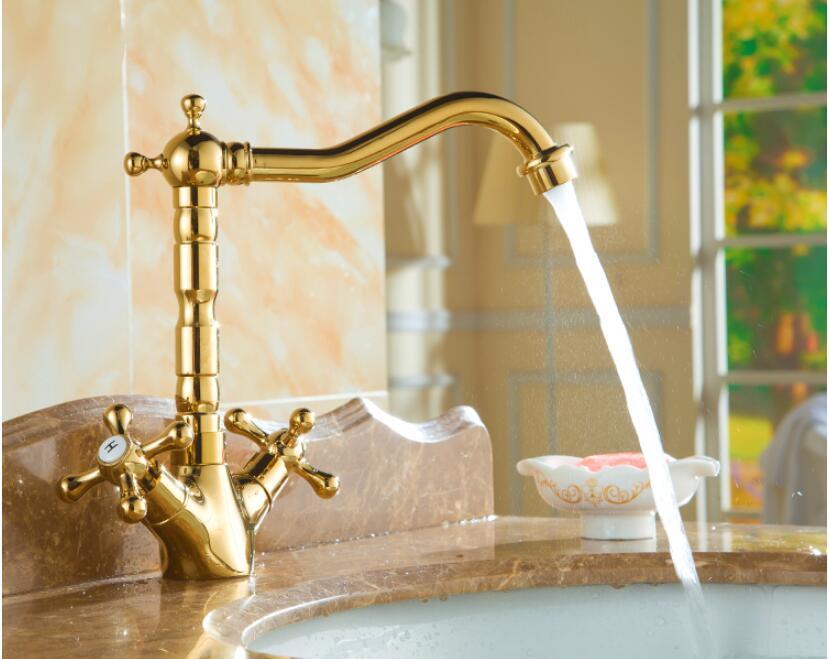 Basin Faucet Gold Brass Crane Bathroom Sink Faucet 360 Degree Swivel Dual Handle Kitchen Wash basin Mixer Taps