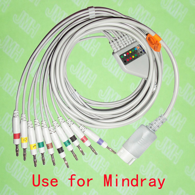 Compatible with Mindray EKG 10 lead,One-piece cable and leadwires,12PIN,4.0banana,IEC or AHA.