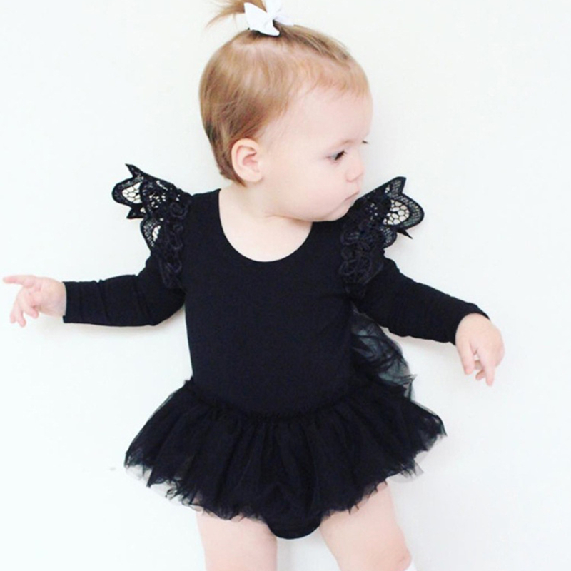 2018 Black Bodysuit Toddler Baby Girl Clothes Baby Girl Bodysuits Tutu Sunsuits For Infant Girls Newborn Onesie With Lace Wings