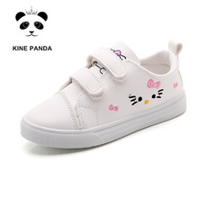 KINE PANDA Big Girls Shoes Kitty Princess PU Leather Children Casual Sneakers Flatform Shoes Embroidered White Pink 2-10Y kine panda children shoes girls flats hello kitty baby shoes pu leather little kids shoes for girl soft toddler girls shoes