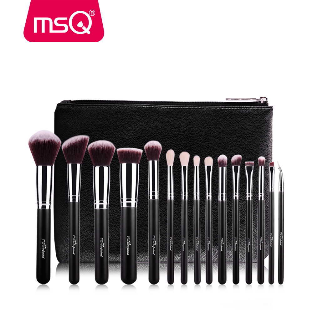 MSQ 15pcs Pro Makeup Brushes Set Foundation Eye Blusher Make Up Brushes Kit High Quality Synthetic Hair With PU Leather Case msq 15pcs professional makeup brushes set foundation fiber goat hair make up brush kit with pu leather case makeup beauty tool