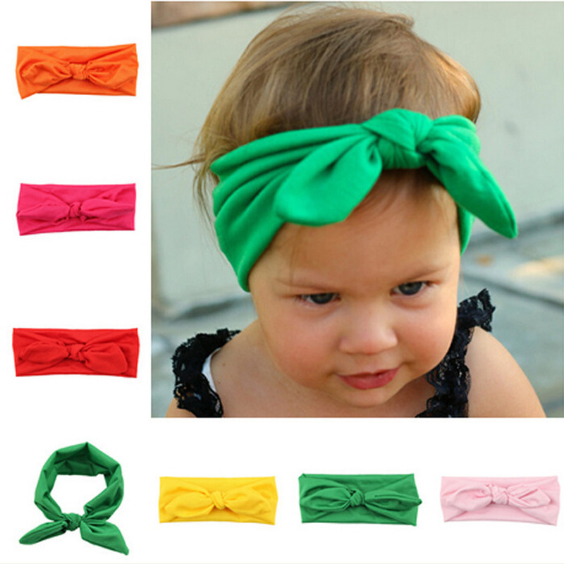 Neonatal Toddler Childrens Hair Band Elastic Rabbit Ears Hooded Baby Headdress Gifts Headbands Infant Girls Bow Accessories