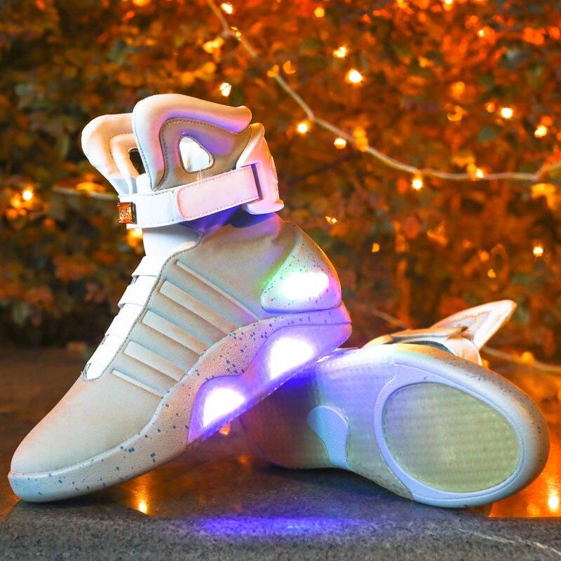 แฟชั่นผู้ชายรองเท้า Led รองเท้าผ้าใบแสงรองเท้าผู้ชายใหม่รองเท้า illuminated Shining Luminous Warm รองเท้าผ้าใบ ligh-ใน รองเท้าบูทแบบเบสิก จาก รองเท้า บน   3