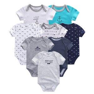 Image 2 - 8 PCS/lot summer short sleeve baby boy bodysuit baby boy jumpsuit set ropa bebe baby boy clothes