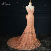 Liyuke J100 Delicate Lace Beaded Crystals Sweetheart Spaghetti Straps Formal Dress Backless Mermaid Mother of the bride dress