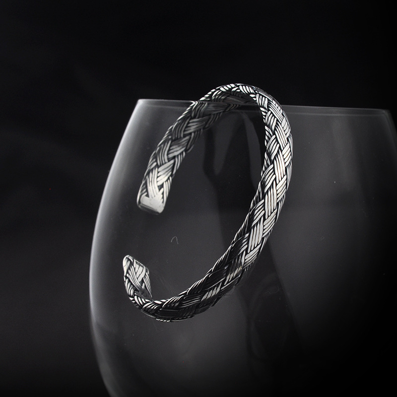 Handmade 925 Sterling Silver Vintage Braided Bangles For Men Women Making Peace Lines Shifting Good Luck