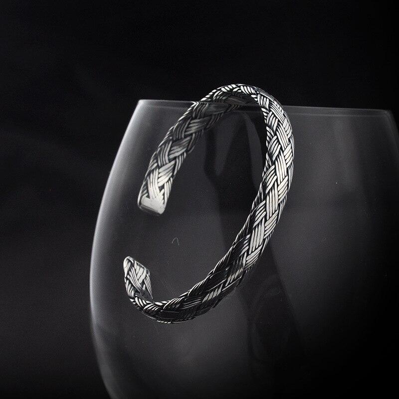 Handmade 925 Sterling Silver Vintage Braided กำไลสำหรับผู้ชายผู้หญิงทำ Peace เส้นขยับโชคดีกำไลเครื่องประดับ-ใน กำไล จาก อัญมณีและเครื่องประดับ บน   1