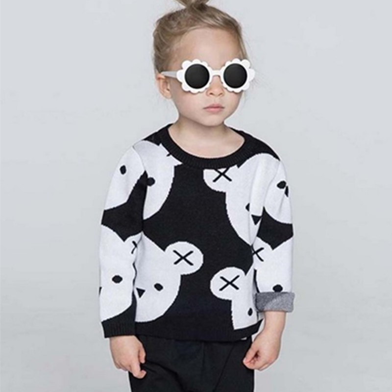 1-5Y Kids Cotton Knitted Black White Bear Sweater Pullovers Baby Girls Boys Clothes Children' Cartoon Tops Outerwear