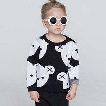 1-5Y Enfants Coton Tricoté Noir Blanc Ours Chandail Pulls Bébé Filles Garçons Vêtements Enfants Cartoon Tops Survêtement