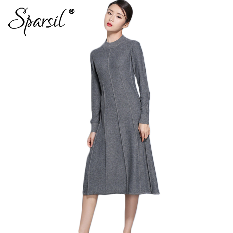 Sparsil Women 2018 Wool Knitted Dress Winter Long Sleeve O Neck A Line Slim Soft Knitting Female Casual Cashmere Dresses