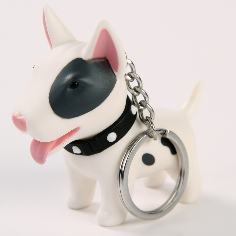 2018 Anime Figure Dog Keychain Hand-painted Craft Dog Bull Terrier Keychain PVC Vinyl Animal Figure Trinkets For Car Keychain