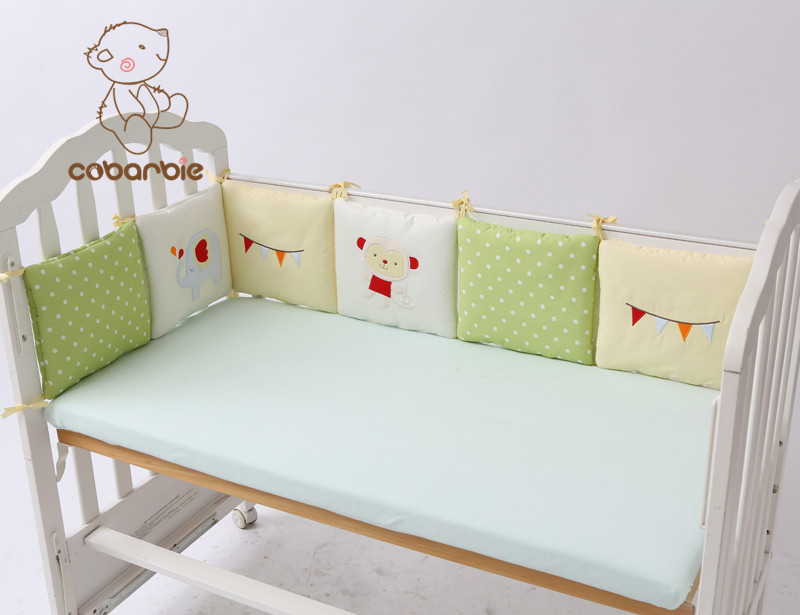 6-14pc / Lot Bayi Bayi Bumper Katil Pelindung Bayi Kanak-kanak Kapas Cot Nurseri tempat tidur Kusyen Kusyen bayi comel