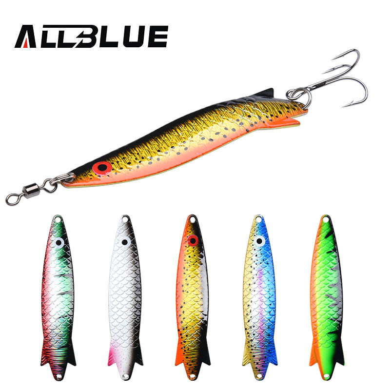 AllBlue New 5PCS 19.3G 90MM Spoon Lure Mix Color Metal Hard Bait Fishing Lure Artificial Lures All Waters Trout Bass Pike