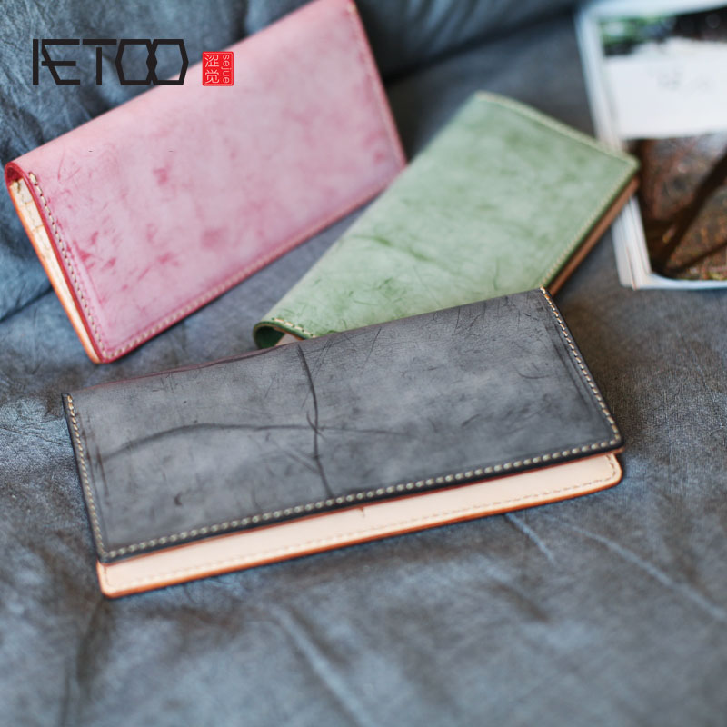 AETOO The new first layer of leather men and women wallet leather art retro to do the old section whole leather Vintage wallet art of war