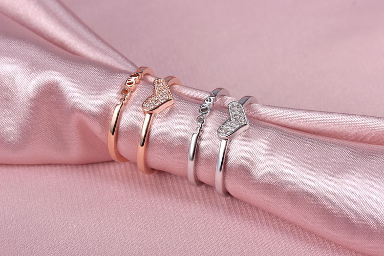 2017 new arrival hot sell romantic love letter shiny crystal 925 sterling silver ladies wedding rings women gift drop shipping in Engagement Rings from Jewelry Accessories