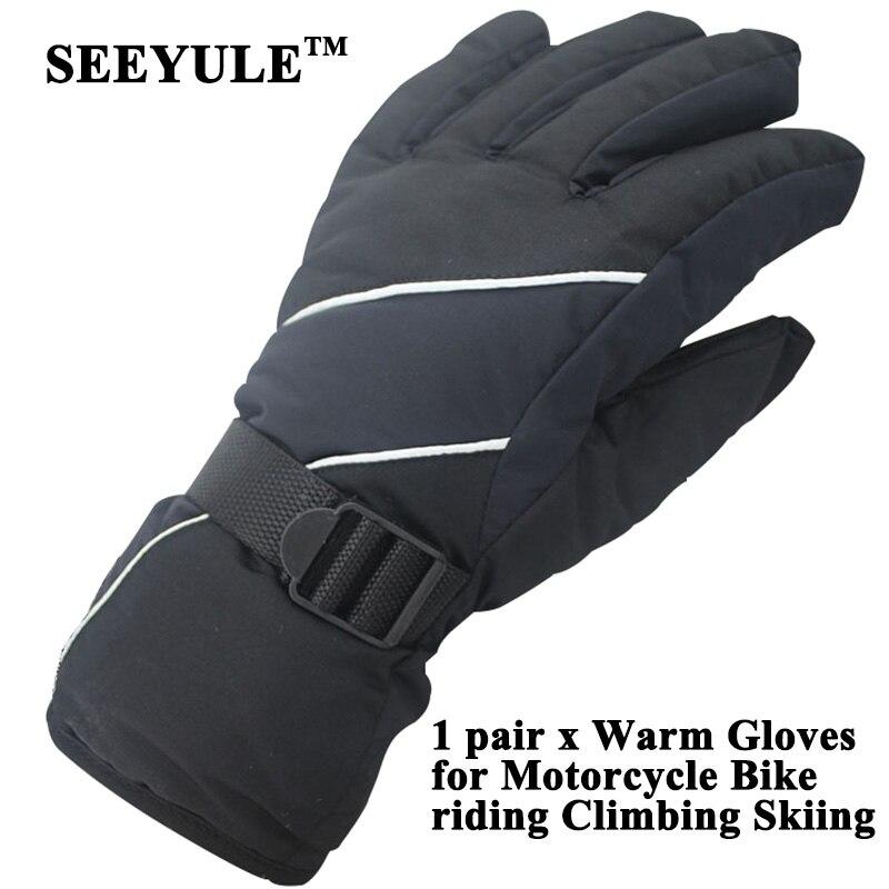 1 pair SEEYULE Motorcycle Winter Warm Gloves Bike Riding Climbing Skiing Men Women Sport Gloves Waterproof Anti-wind Anti-slip