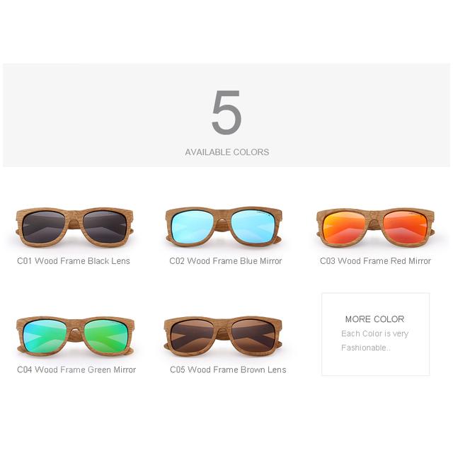 Unisex Wooden Sunglasses Retro Look