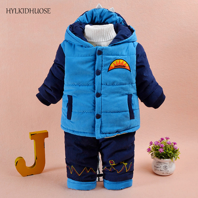 HYLKIDHUOSE 2017 Baby Boys Winter Clothes Suits Infant/Newborn Warm Suits Thick Hooded Carttoon Coats+Pants Children Kids Suits