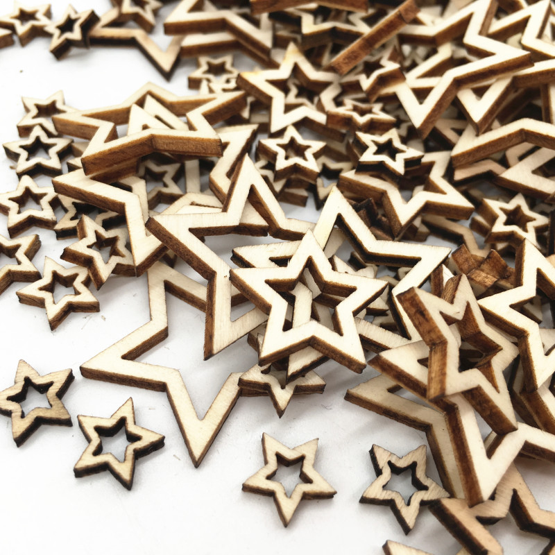 100 Pcs Hollow Stars Pattern Wooden Scrapbooking Art Collection Craft For Handmade Accessory Sewing Home Decoration