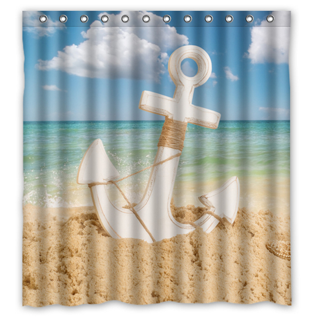 Blue Sea Sandbeach Anchor Starfish Custom Unique Waterproof Shower Curtain Bathroom Curtains 36x72 48x72