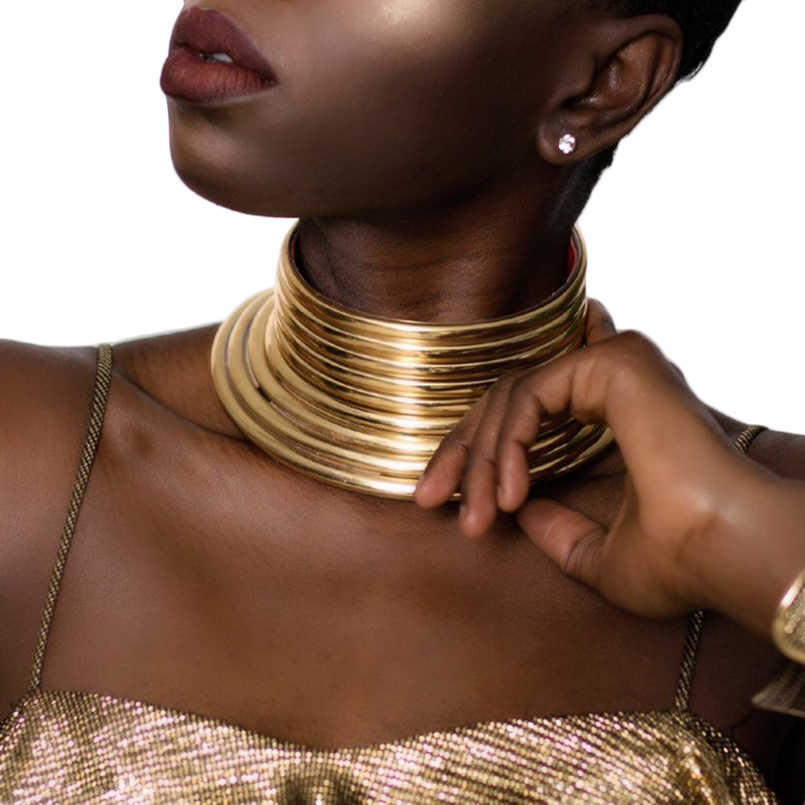 Vintage Statement Choker Necklaces Women African Long Neck Collar Necklace
