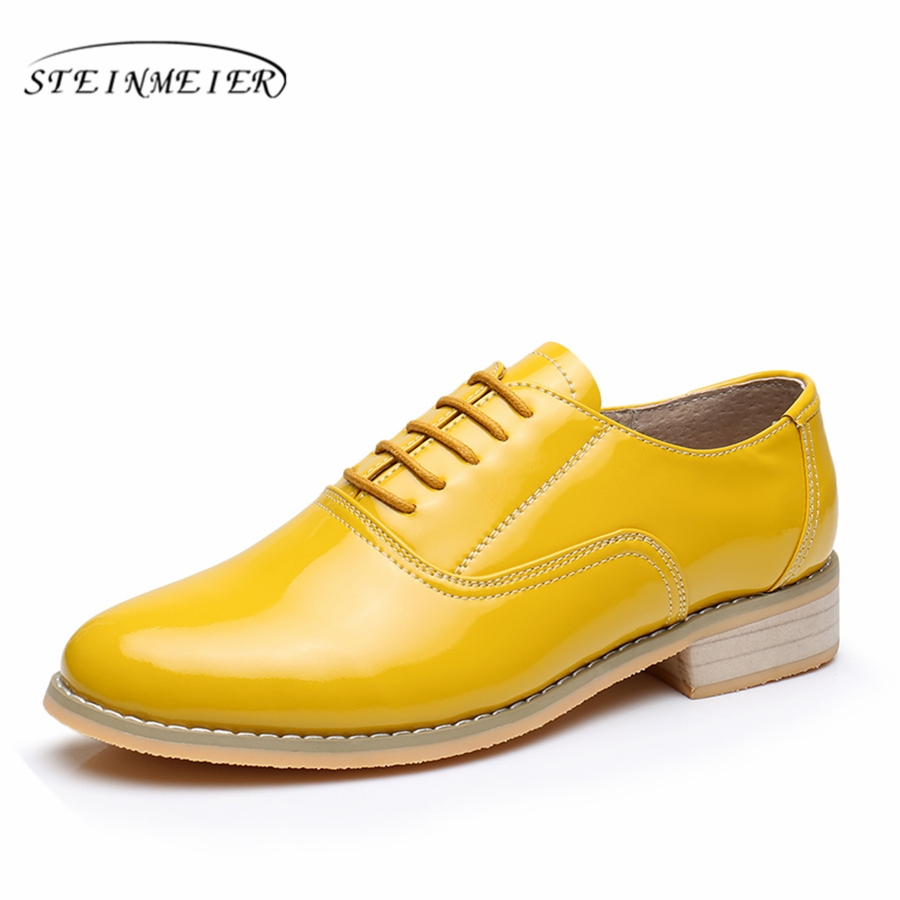 Patent leather big woman US size 11 designer vintage flat shoes round toe handmade yellow 2018 oxford shoes for women with fur 2016 genuine leather big woman size 11 designer vintage flat shoes round toe handmade blue pink beige oxford shoes for women fur