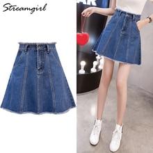 a81195c7d Mini A Line Skirt Denim Women High Waist Button Jean Skirt Mini Plus Size A-