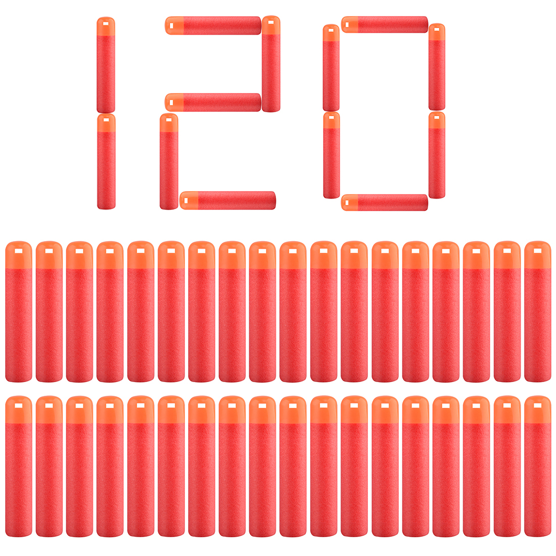 120/240 Pcs Soft Bullet For Nerf Mega Paintball Hollow Soft Head Foam Bullets Weapons - Red