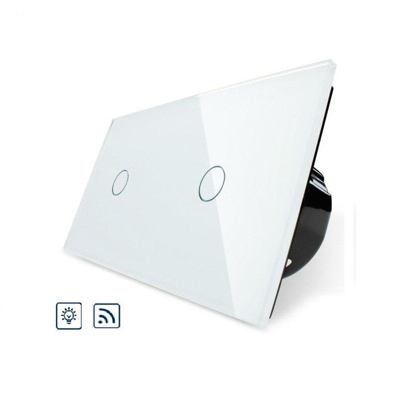 Interrupteur de gradateur Standard de l'ue commutateur intelligent de panneau en verre de cristal de luxe, commutateur de lumière de mur de contrôle à distance et tactile pour la lumière 2C701DR-11