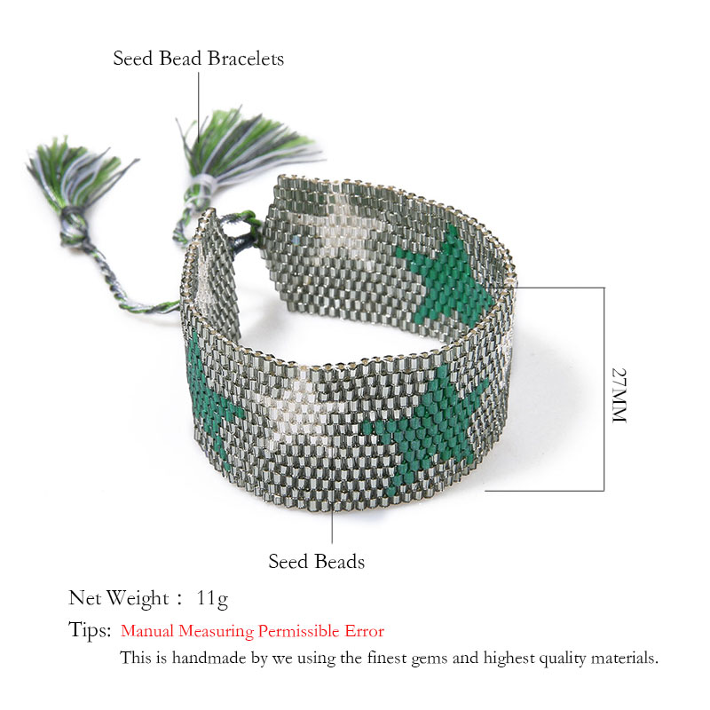 Rttooas Go2boho Fashion Bead Bracelets Bangles for Women Boho Star Pattern Seed Beads Cuff Bracelet Friendship Tassel Jewelry in Cuff Bracelets from Jewelry Accessories