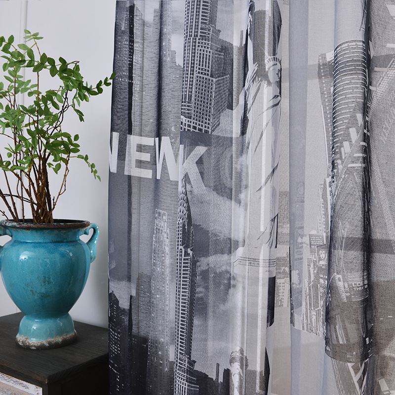 2018 Sheer Curtains For Bedroom Statue Of Liberty New York Window Curtains For Living Room Kitchen Curtains Tulles Sheers 1pc
