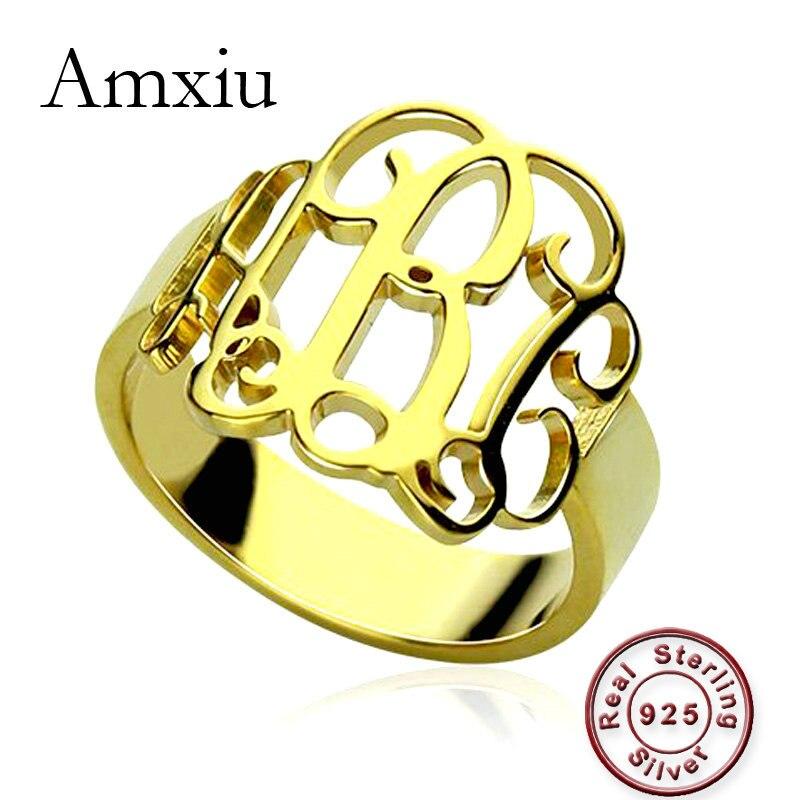 Amxiu personnalisé nom anneau graver initiales monogramme anneaux 100% 925 en argent Sterling grands anneaux pour femmes hommes cadeau bijoux de mode