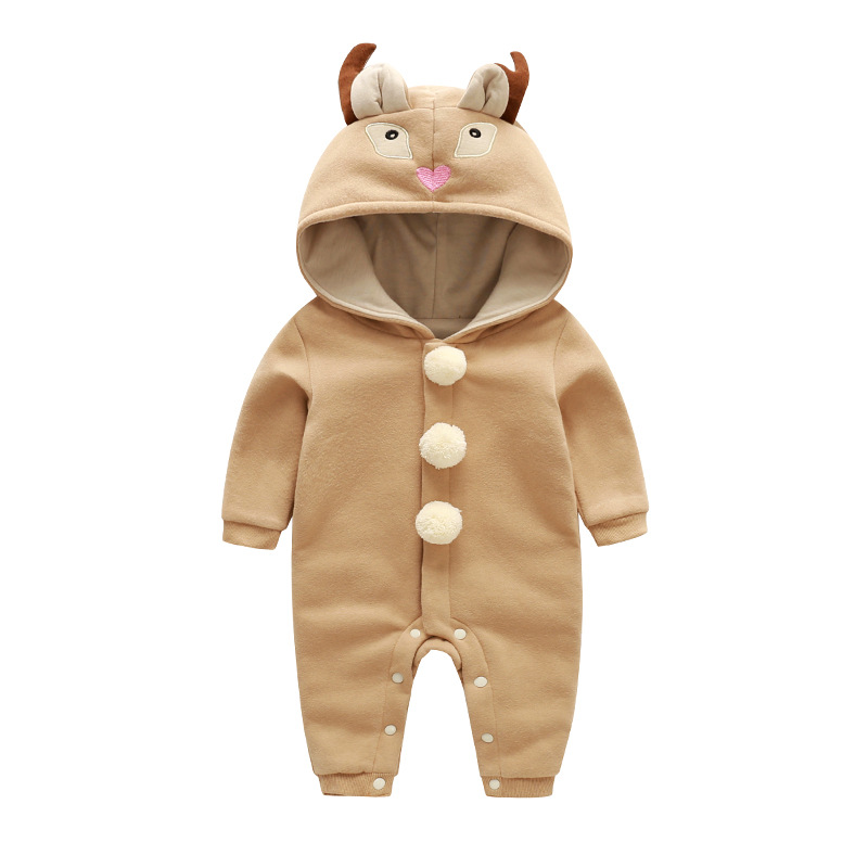 Baby Girls clothing Deer Head Hat Boys Jacket Double Hooded Kids Clothes Boy And Girl  Spring-autumn Outdoor Jumpsuit cute 2017 winter double balls hat baby kids girls boys newborn crochet knitted hats skullies caps children pompom beanies hat f3