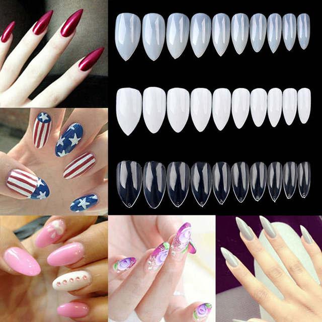 600pcs Natural White Clear Fake Nails 10 Sizes Artificial Sharp Nail Art Tips Pointy
