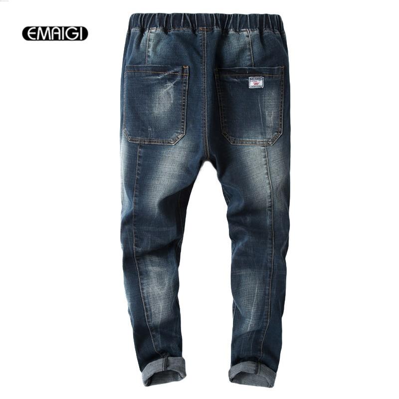 Men Slim Fit Denim Trousers Elastic Waist Jeans Male Fashion Retro Casual Denim Harem Pant Plus Size 28-42 large size 29 42 young men jeans hole patchwork denim harem pant male fashion casual denim pant trousers