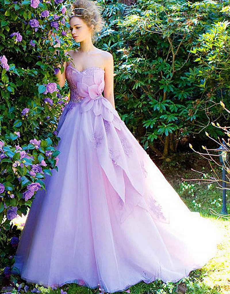 2016 modern women dress dress weddingdress organza for Wedding dresses with purple trim