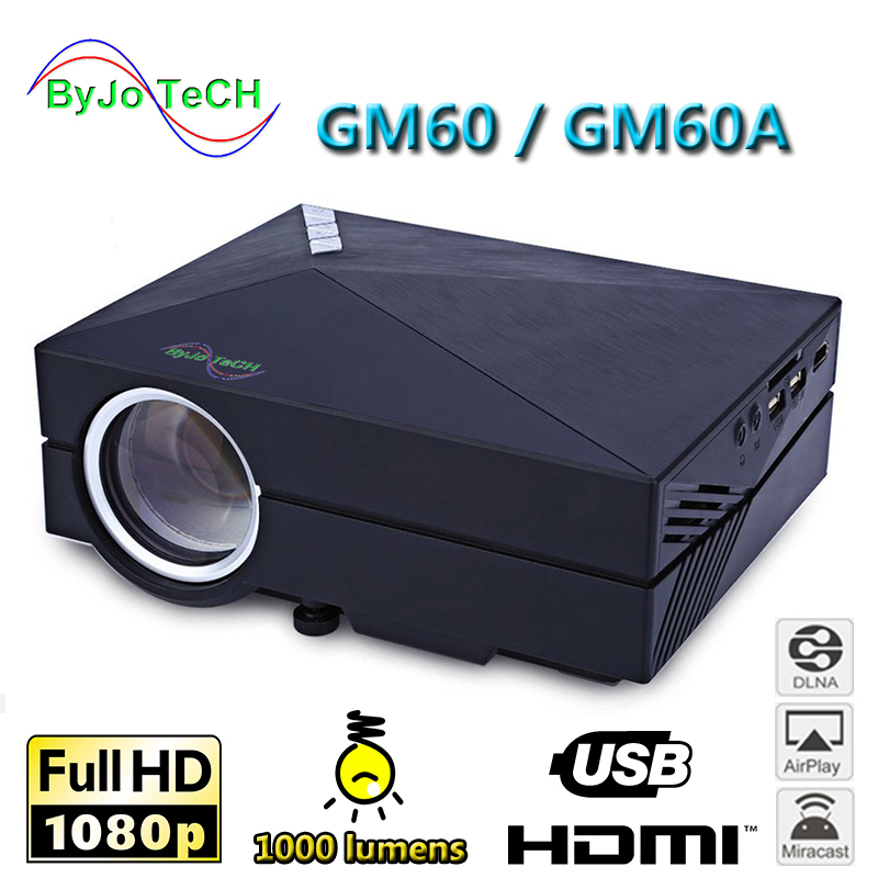 ByJoTeCH GM60 Series HD Projector 1000 lumens support 1080P Mini Home Theater 3D Projector WIFI multi-screen interactive options 3d projector 1024 768 native resolution 3600ansi lumens short focus projector 1m distance have 80inch screen 3d glass free gift