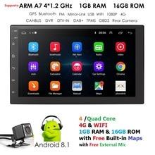 2 Din Автомобильное универсальное Радио Android gps навигация Bluetooth Сенсорный экран Wifi автомобильный аудио стерео USB автомобильный мультимедийный микрофон dab + камера