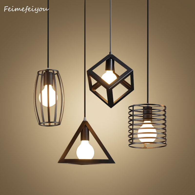Feimefeiyou Nordic retro iron creative chandeliers loft simple personality single-head restaurant lights bar art pendent light e27 simple modern wrought iron nordic study creative personality single head restaurant chandeliers