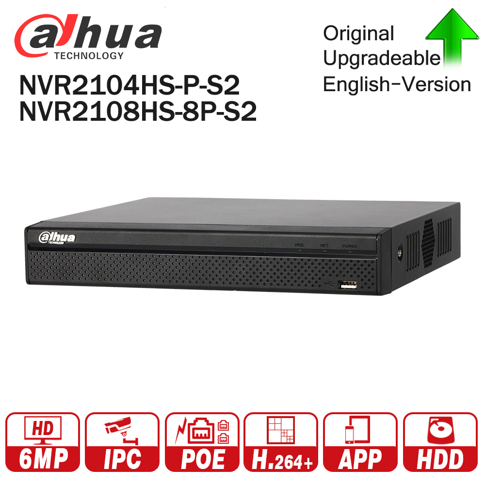 Dahua NVR2104HS-P-S2  NVR2108HS-8P-S2 4/8 Channel POE NVR 1U PoE Network Video Recorder Full HD 6MP Recording For IP Camera dahua network video recoder nvr4208 8p hds2 nvr4216 16p hds2 8 16ch nvr support onvif poe nvr recorder for poe camera