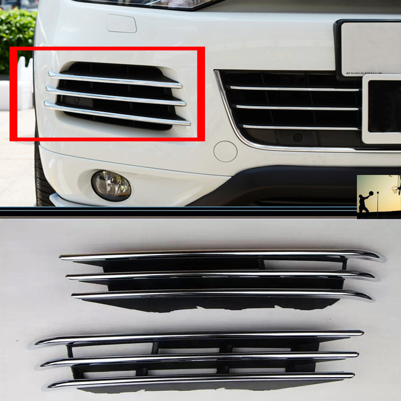 Car styling ABS Chrome front rear fog lamps Cover Trim For VW Volkswagen Touareg 2011 2012 2013 2014 car-styling car front fog lamp cover rear tail fog lamp cover trim abs chrome fit for citroen c4l 2013 2014 2pcs per set