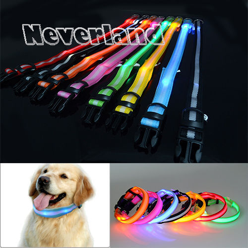 8 Warna S M L Ukuran Cahaya LED Dog Pet Cat Flashing Light Up Nylon Collar Malam Keselamatan Collar Supplies Produk Freeshipping